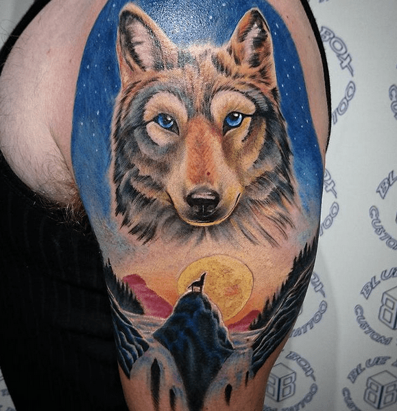 Color wolf angel tattoo sleeve by @drew_govan_tattoo