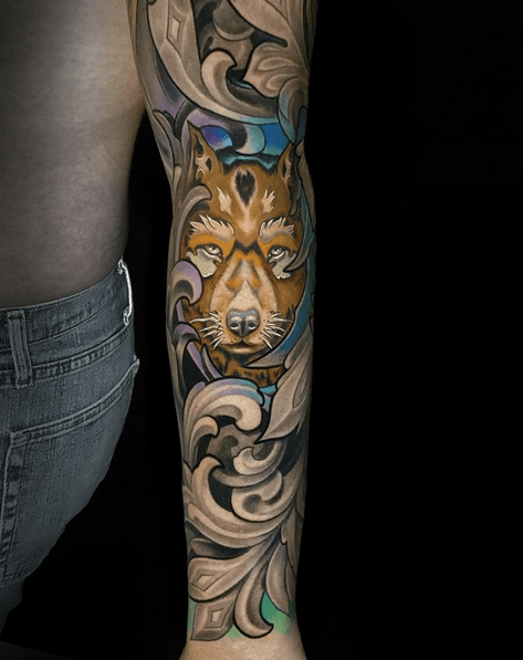 Colorful wolf pack tattoo sleeve with filigree by @sierracolt