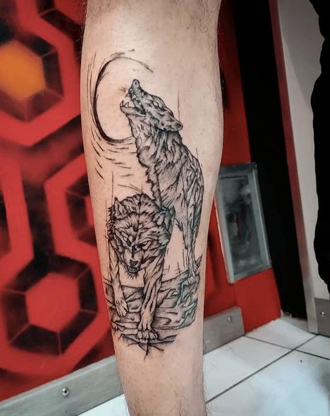 Dark abstract wolves tattoo by @joaoafonsovieira