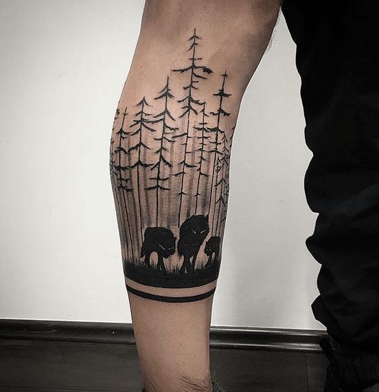 Dark spooky wolf pack tattoo by @drunkenmonkeystatt2