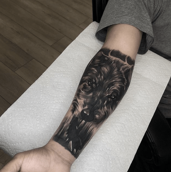 Dark wolf half sleeve tattoo by @nayr_tattoos