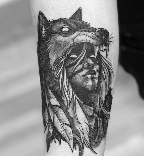 Dark wolf headdress tattoo by @matthenegarart