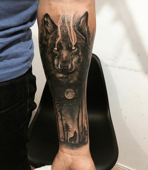 Dark wolf moon tattoo by @joaquinumbre_tattoos