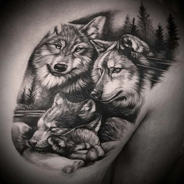 Family wolf pack tattoo on chest by @killemjohnny_