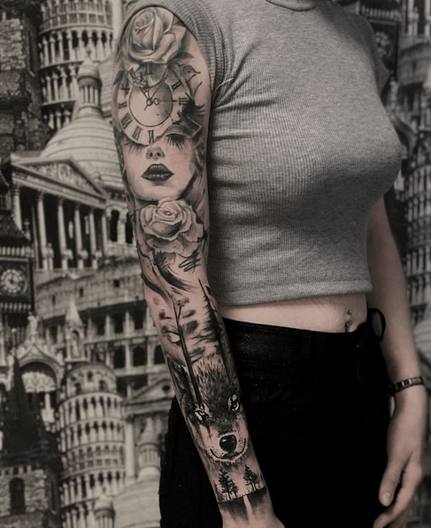 Female wolf tattoo sleeve by @alexhell_tattoo