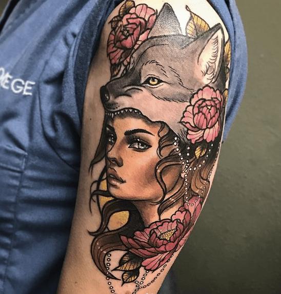 Feminine wolf headdress tattoo by @meeksart