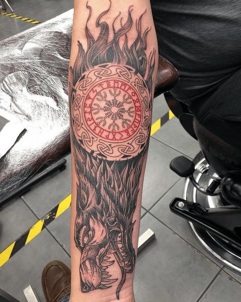 Firey Celtic wolf tattoo by @jasondavistattoo