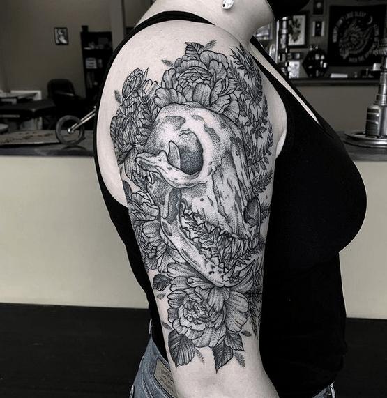 Flower wolf skull tattoo by @yavonnie_a