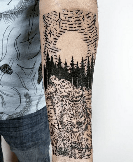 Forearm wolf pack tattoo by @lisaorth