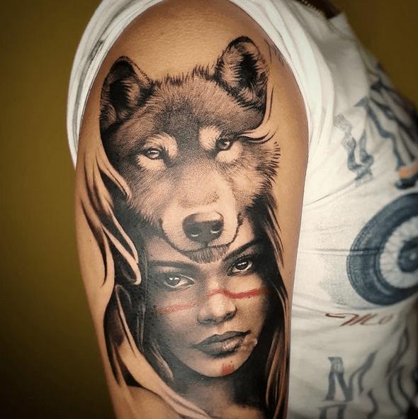 Gentle woman wolf headdress tattoo by @sombra_art.tattoo