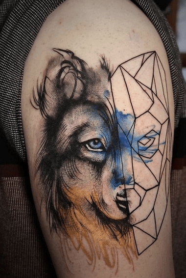 Geometric watercolor wolf tattoo by @inkdependenttattoos