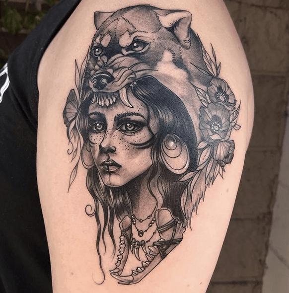 Illustrative woman wolf headdress tattoo by @torastangenes