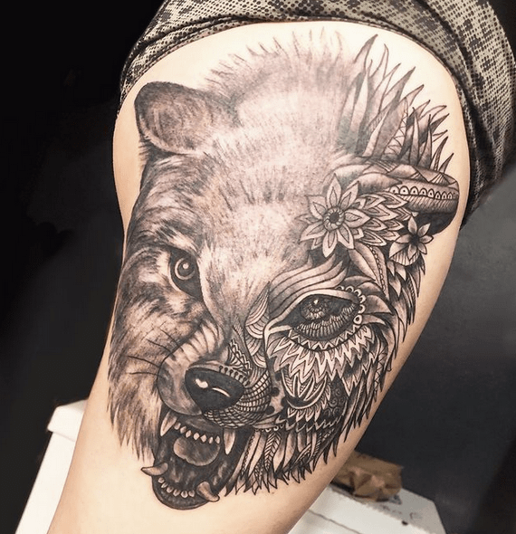 Mandala wolf head tattoo by @somberallure