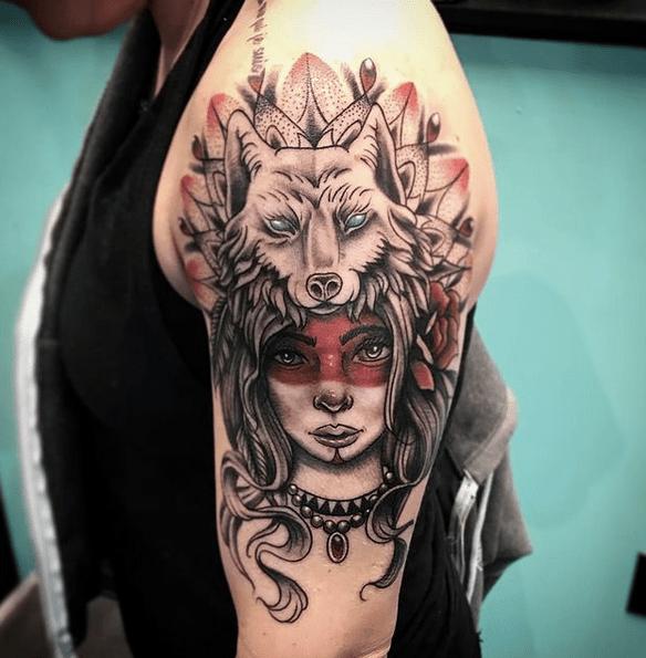 Mandala wolf headdress woman tattoo by @nvus_louione