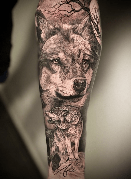 Mother wolf tattoo sleeve by @pablocrespotattoo