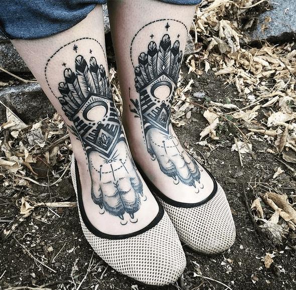 Native American wolf paw tattoos by @melaniesteinway