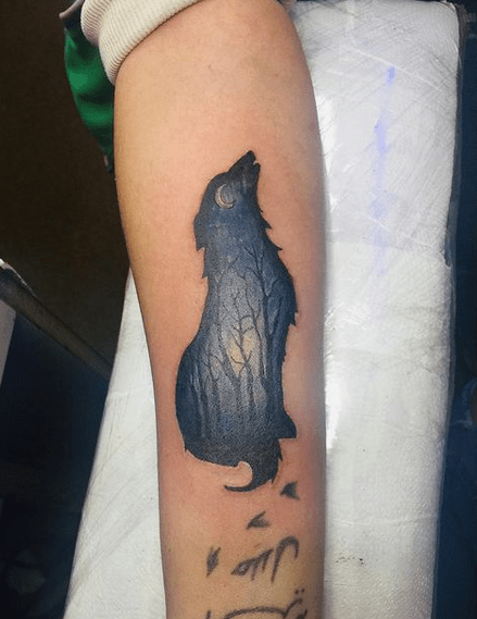 Night howling small wolf tattoo by @jamica.official