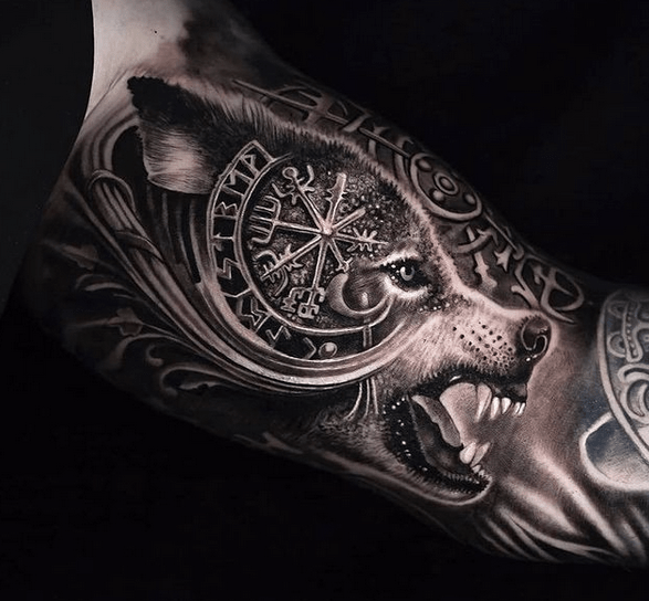 Realistic Norse wolf tattoo sleeve by @historyvikingsposts