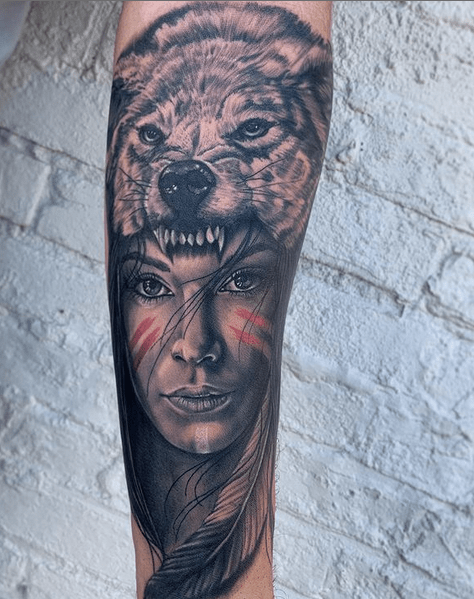Realistic angry wolf headdress tattoo by @cjohnsontattoos