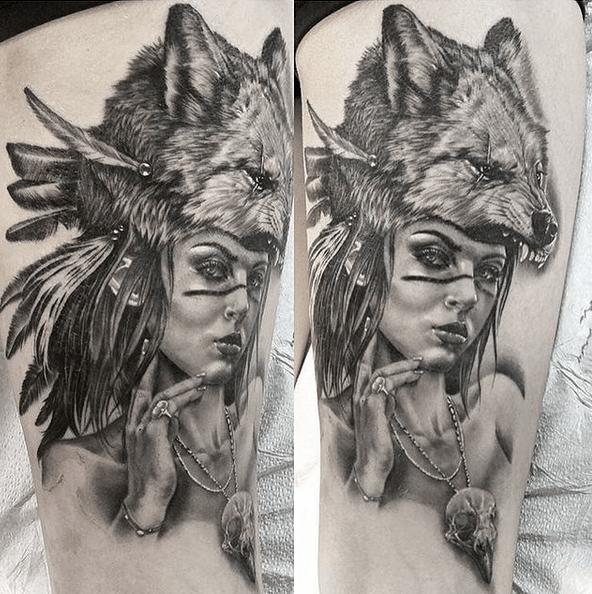 Realistic thigh wolf headdress tattoo by @spaddy88