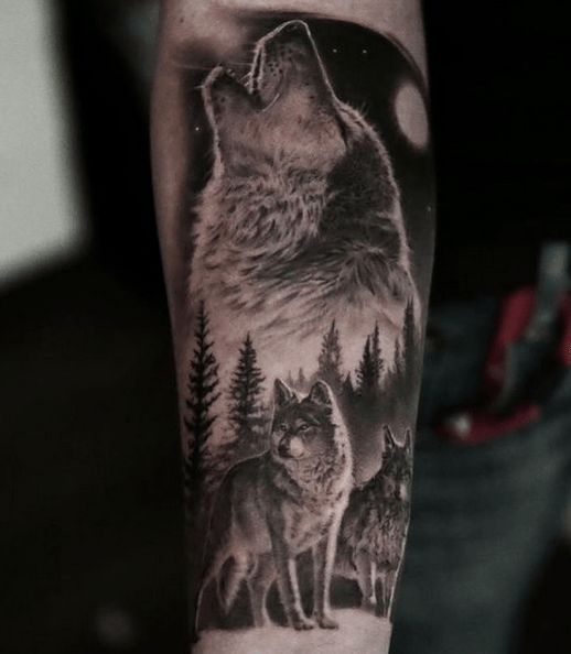Realistic wolf pack tattoo by @valpenta2