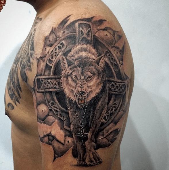 Realistic wolf with Celtic cross tattoo by @mintengz_tattoo