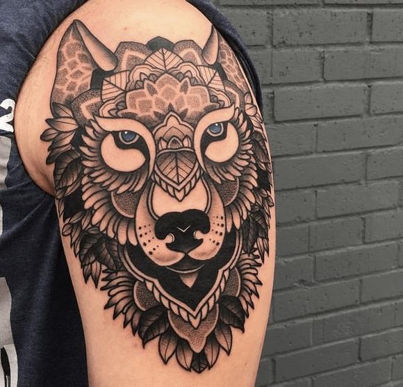 Shoulder mandala geometric wolf tattoo by @jasoncalltattooer