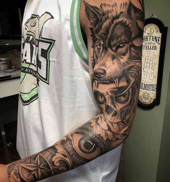 Skull eye compass wolf tattoo sleeve by @clarktattoo