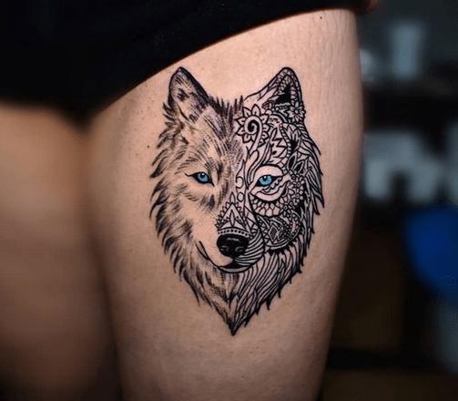 Small thigh wolf tattoo by @sinisakovac87
