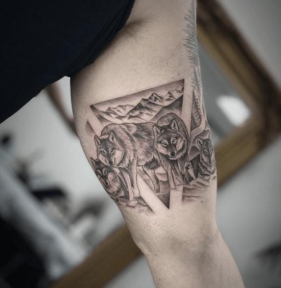 Small wolf pack tattoo by @_matt_roe_