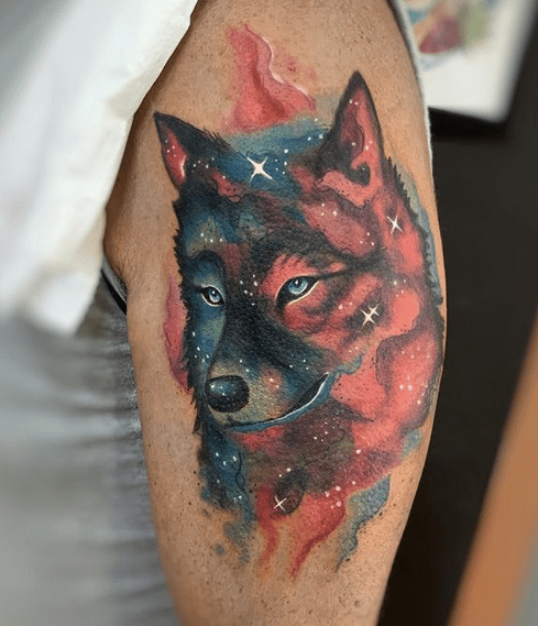 Sparkly watercolor wolf tattoo by @blackpeony_tattoo