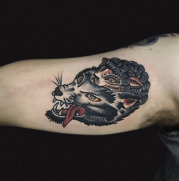 Traditional wolf in sheep's clothing tattoo by @mal_aguero_tattoo