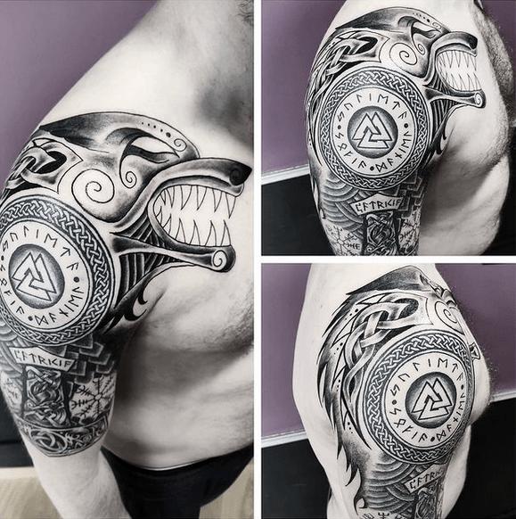 Upper arm Celtic wolf tattoo sleeve by @valkyrink_art
