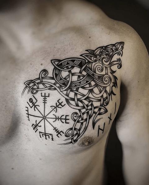 Vegvisir celtic knotting wolf tattoo by @marloeslupkertattoo