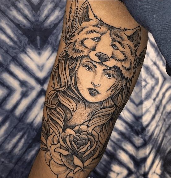 Wolf headdress tattoo by @amentitattoostudio
