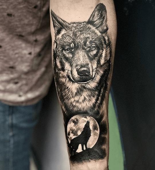 Wolf moon forearm tattoo by @marciocosta.tattooartist
