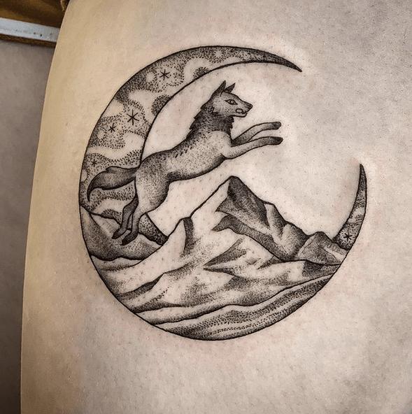 Wolf moon mountain tattoo by @sonwaa_tattoo