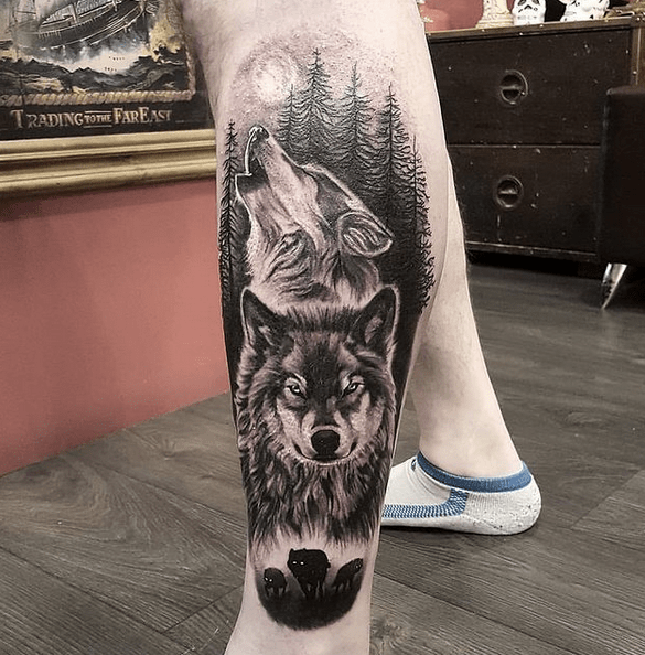 Wolf pack moon tattoo by @vivcrogstattoos