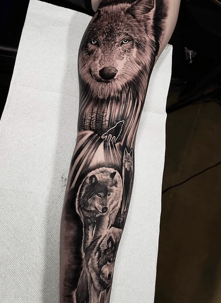Wolf pack tattoo sleeve by @activeink_