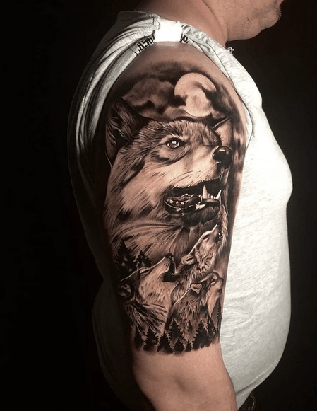 Wolves howling at the moon tattoo by @atomictattoos