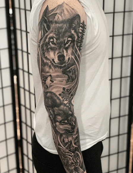 Wolves tattoo sleeve by @mademymarc