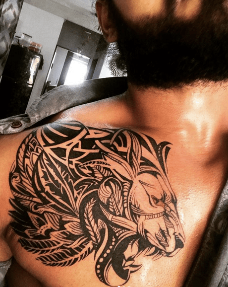 Amazing tribal lion tattoo on the chest by @nep_yoddha_yogu10