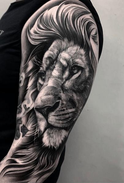 Dark lion tattoo sleeve by @bobbalicious_tattoo