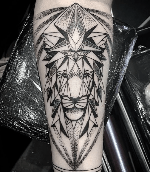 Dotwork shaded geometric lion tattoo by @dcsss_tattoo