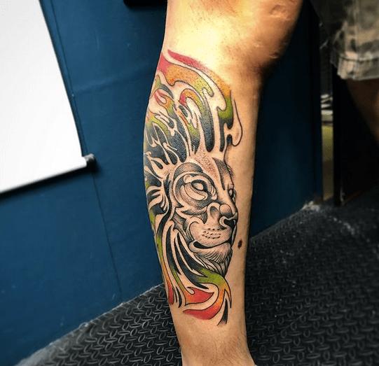Firey Rastafari lion tattoo by @hely_tattoo