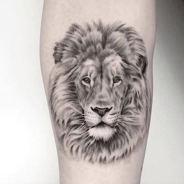 Gentle small lion tattoo by @tattoo_is_artt