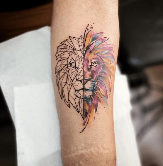 Half geometric half watercolor lion tattoo by @dd_tattoo_atelier