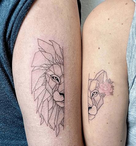 Lion and lioness geometric tattoos by @joca182.tattoo