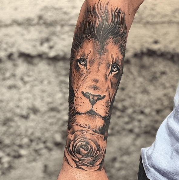 Lion and rose tattoo sleeve by @angelanddemontattoo
