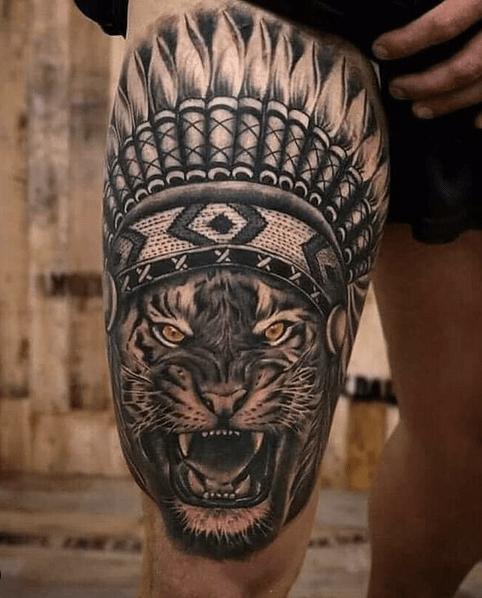 Lion headdress tattoo by @tattoo._lover33